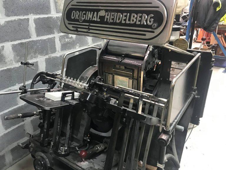 Platine Typo HEIDELBERG Ofmi T 26 x 38cm utilisée avec encrage